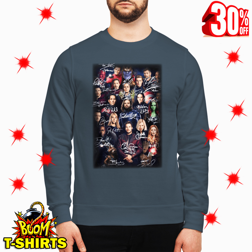 Spider Man Selfie with Avenger Endgame Marvel Characters Signatures sweatshirt