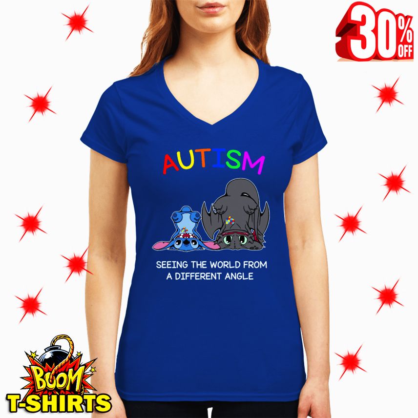 Stitch And Toothless Autism Seeing The World From A Different Angle v-neck