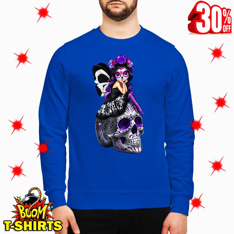 Sugar Skull Fairy Figurine Esmeralda on Skull sweatshirt