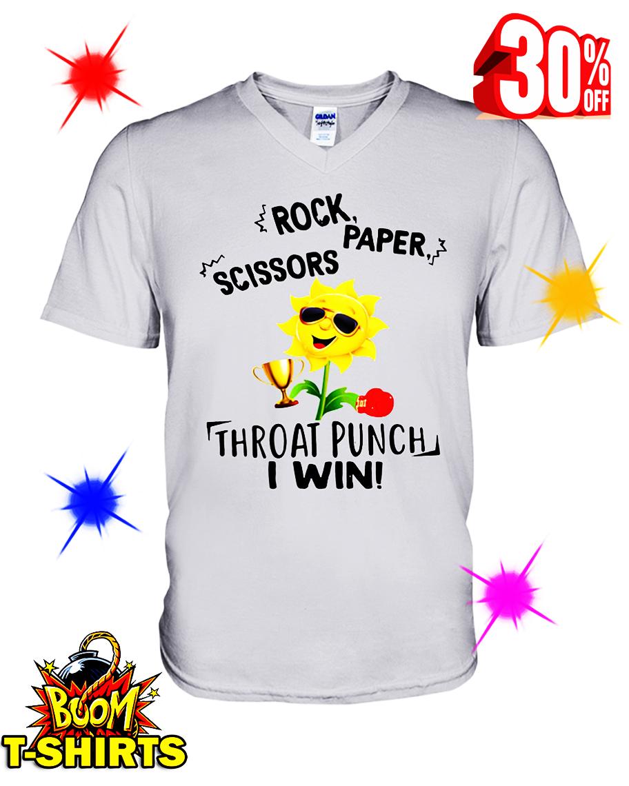 Sunflower Rock Paper Scissors Throat Punch I Win v-neck