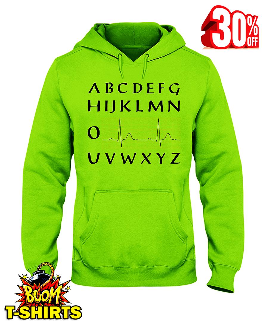 ABCDEFGHIJKLMNO Heartbeat NUSERS hooded sweatshirt