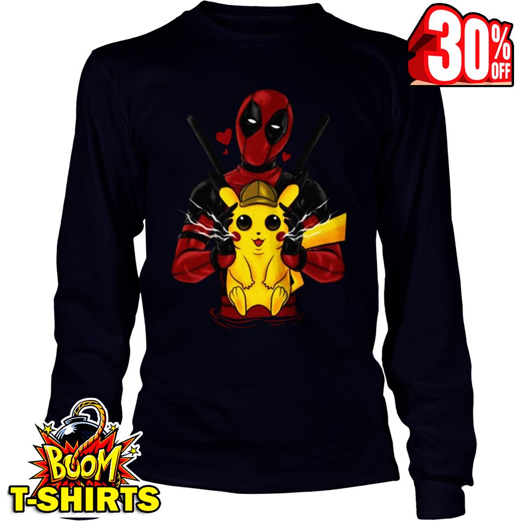 Deadpool hug love Pikachu long sleeve tee