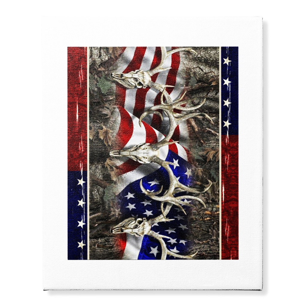 Deer Hunting American flag 4th of July canvas