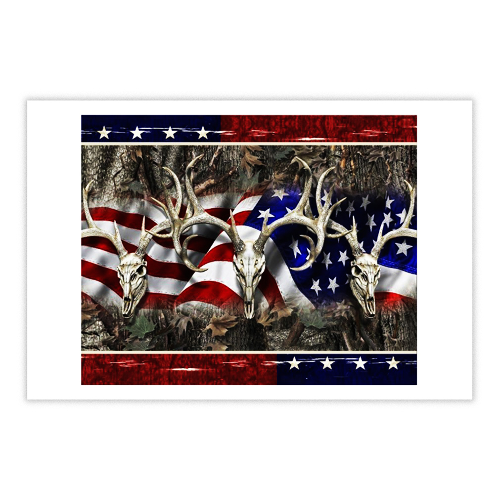 Deer Hunting American flag 4th of July poster 17x11