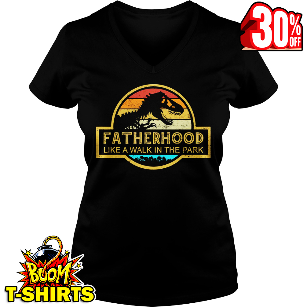 Fatherhood Like A Walk In The Park Dinosaurs Vintage Retro v-neck