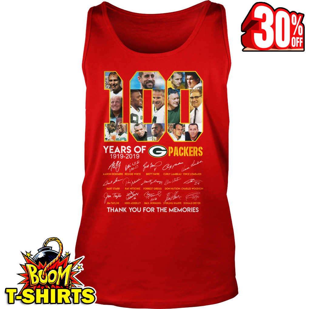 100 years of Green Bay Packers thank you for the memories signature tank top