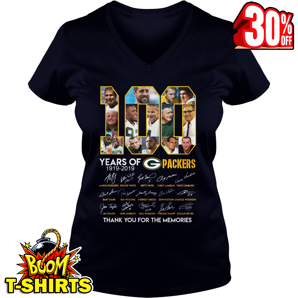 100 years of Green Bay Packers thank you for the memories signature v-neck