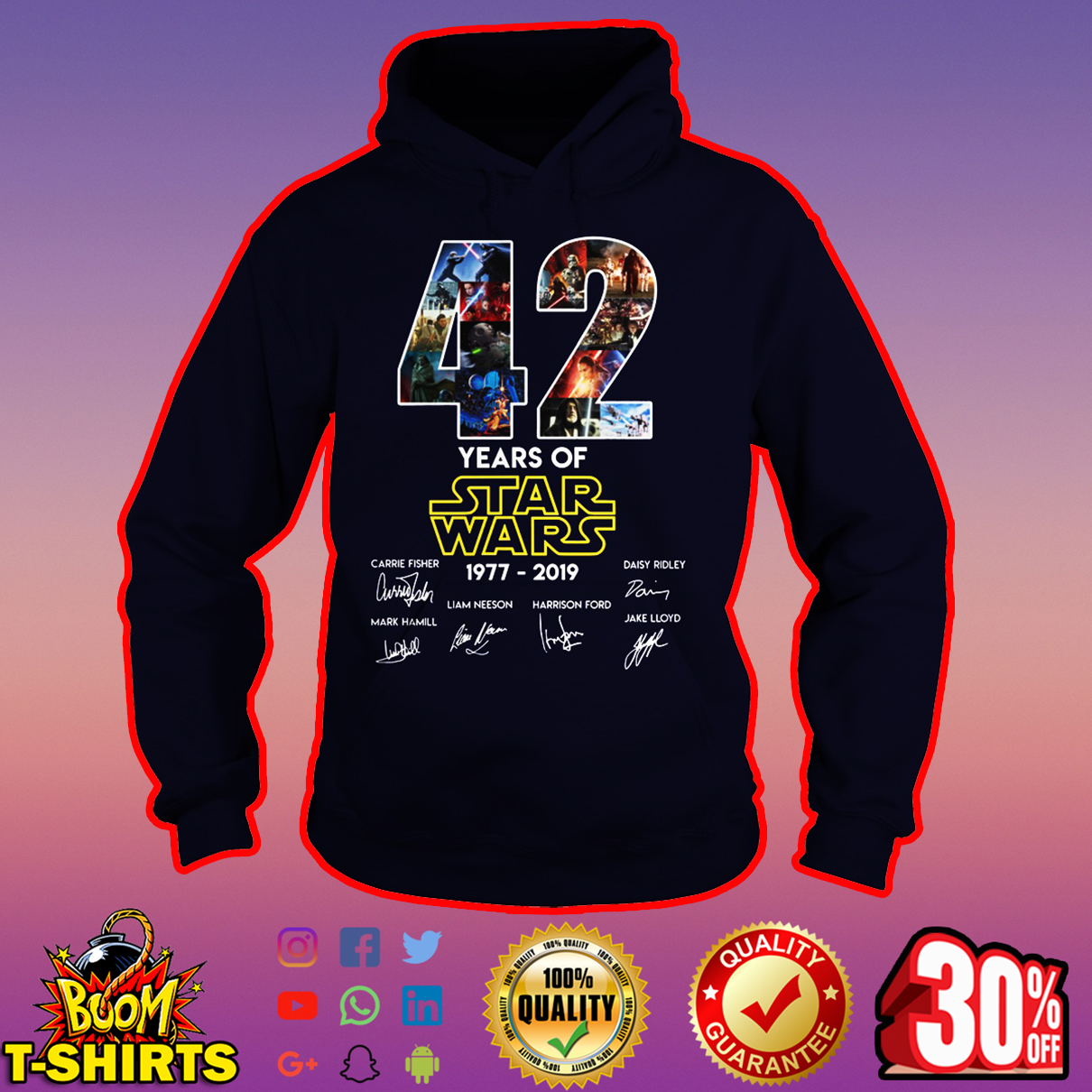 42 years of Star Wars 1977 2019 hoodie