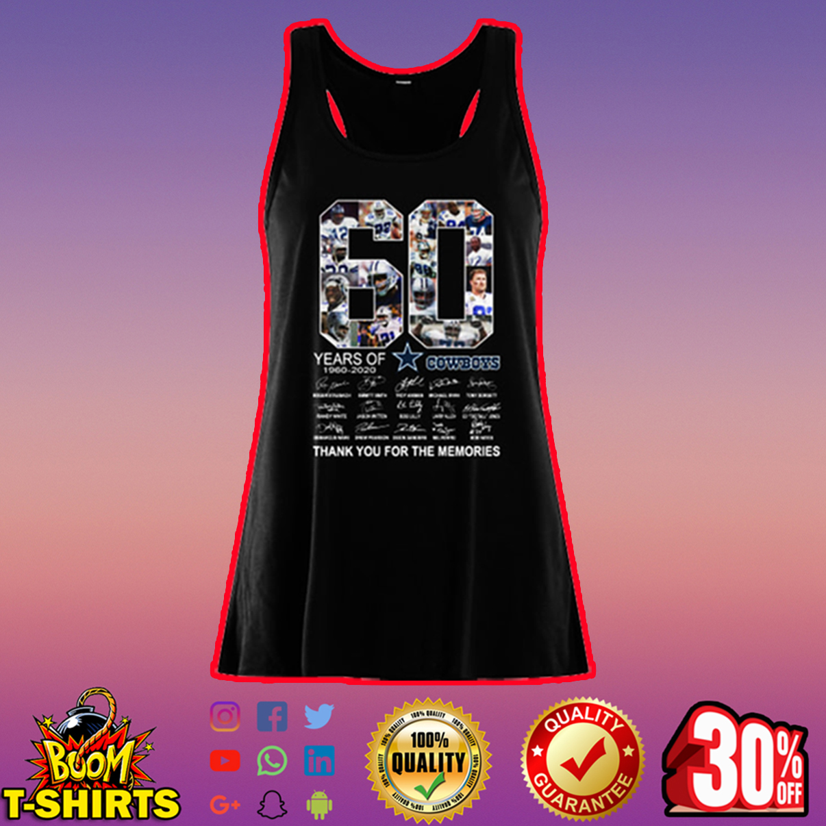 60 years of Cowboys thank you for the memories flowy tank top