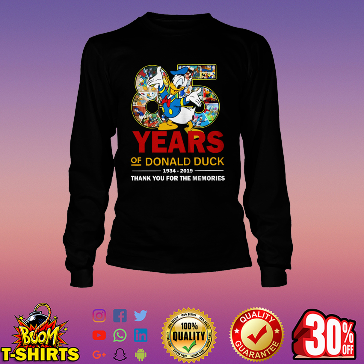 85 years of Donald Duck 1934-2019 thank you for the memories long sleeve tee