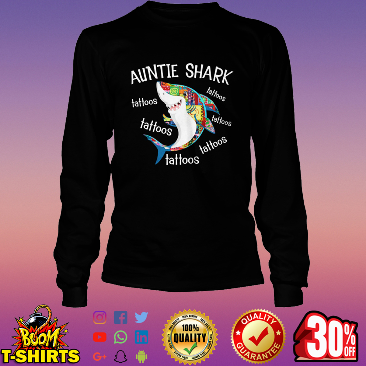 Auntie Shark tattoos tattoos long sleeve tee