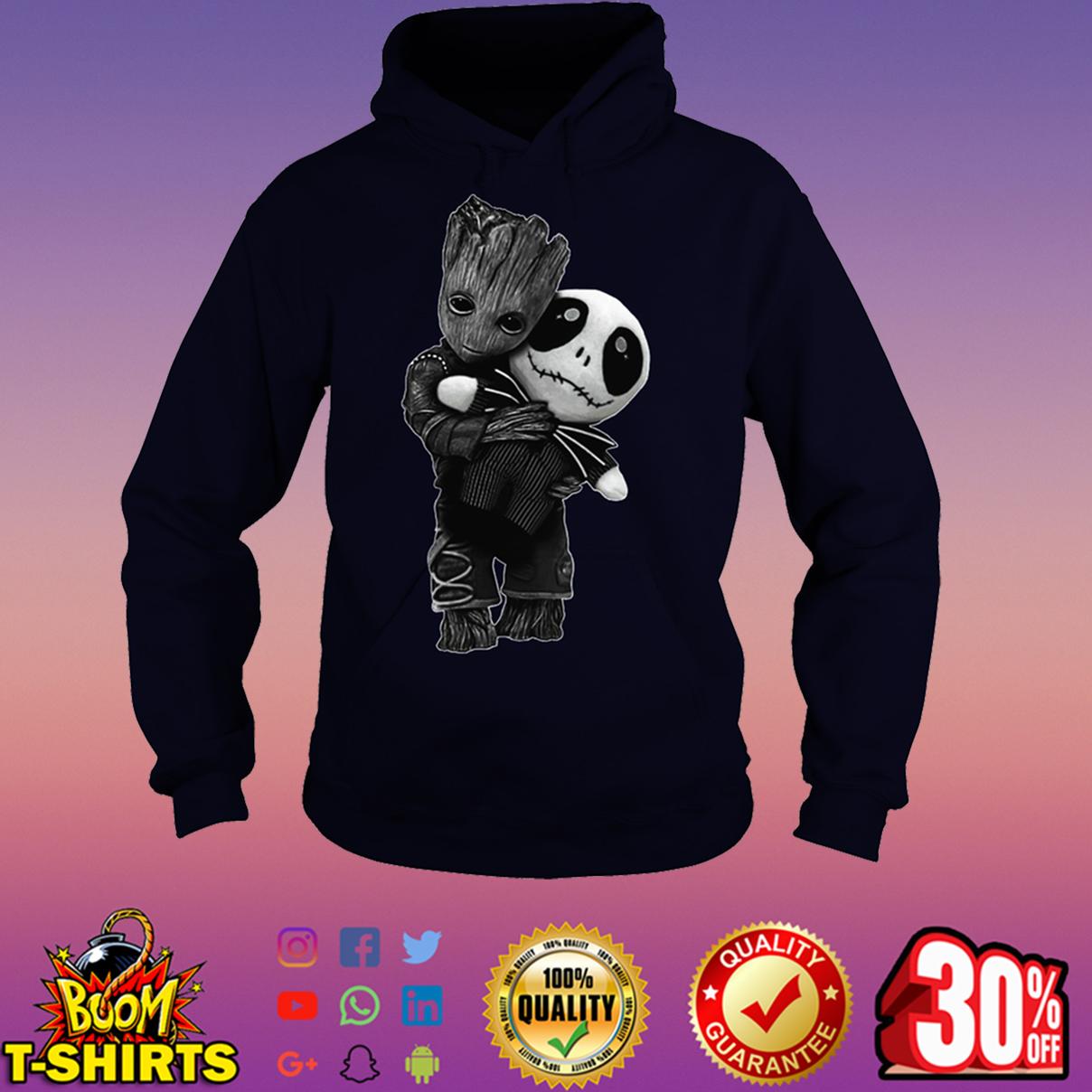 Baby Groot hug Jack Skellington hoodie