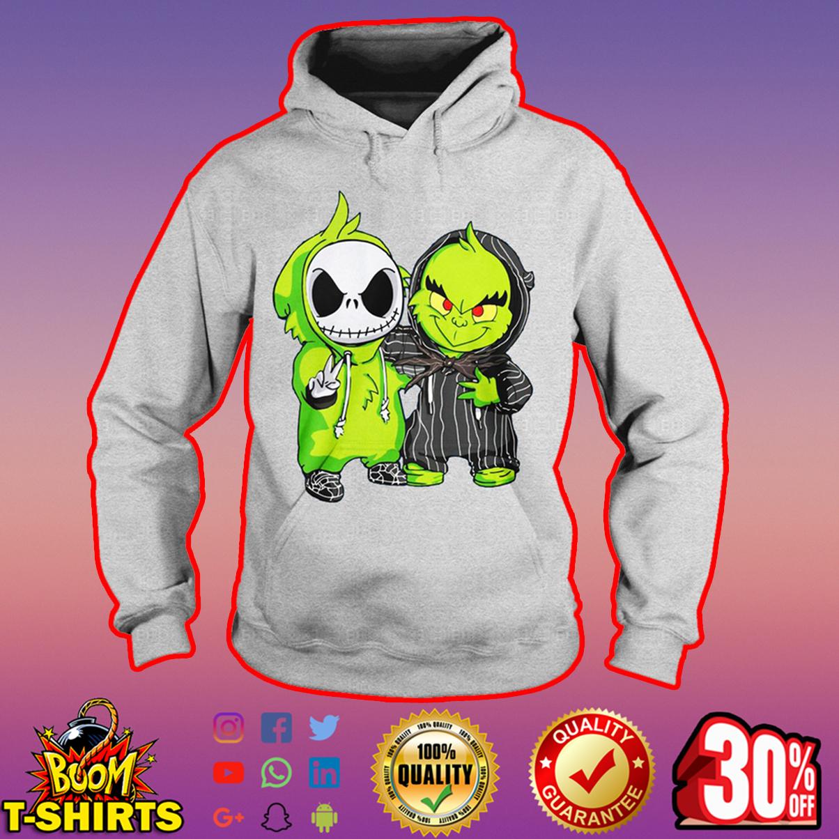 Baby Jack Skellington hugs Grinch hoodie