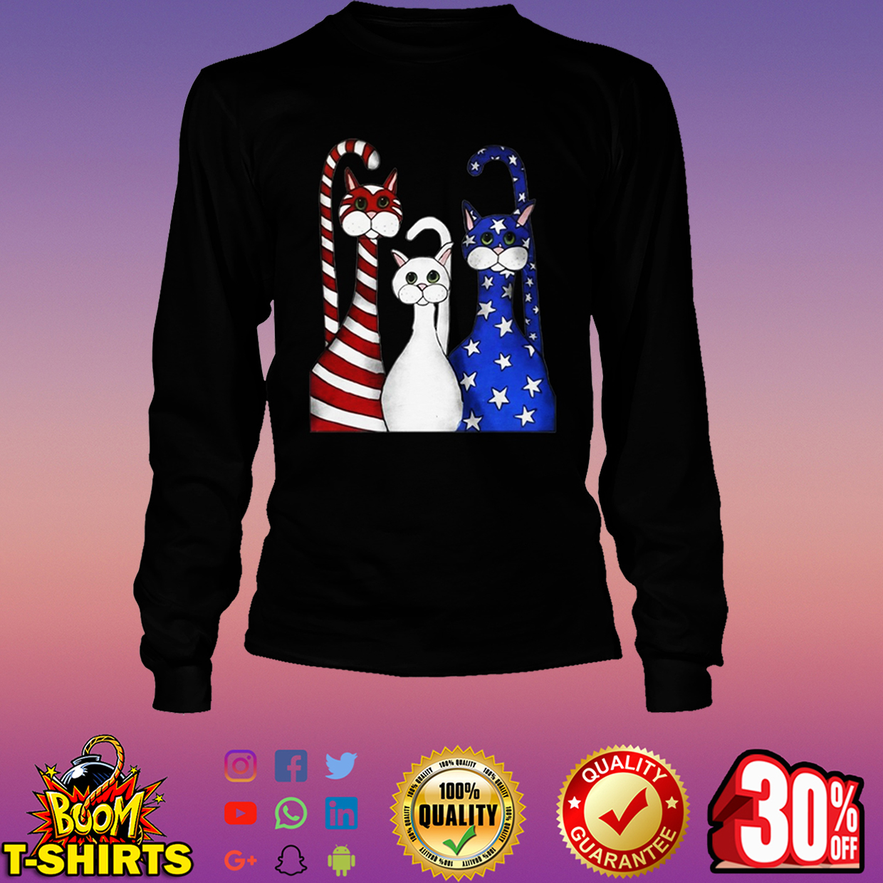 Cats 4th of July long sleeve tee