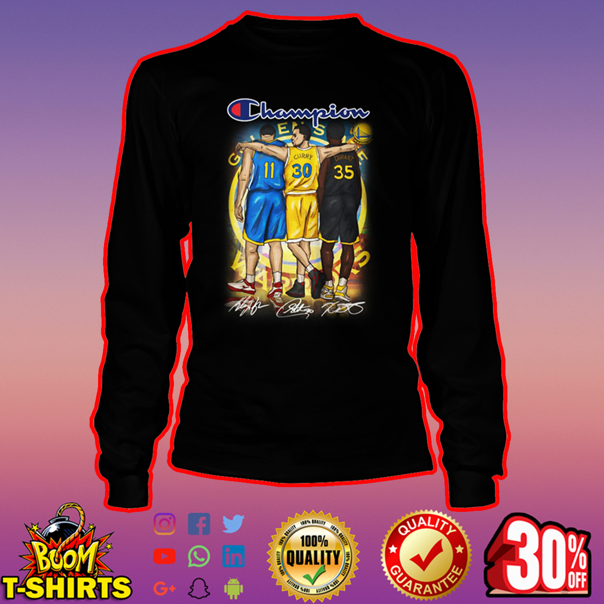 Champion Thompson Curry Durant Golden State Warriors long sleeve tee