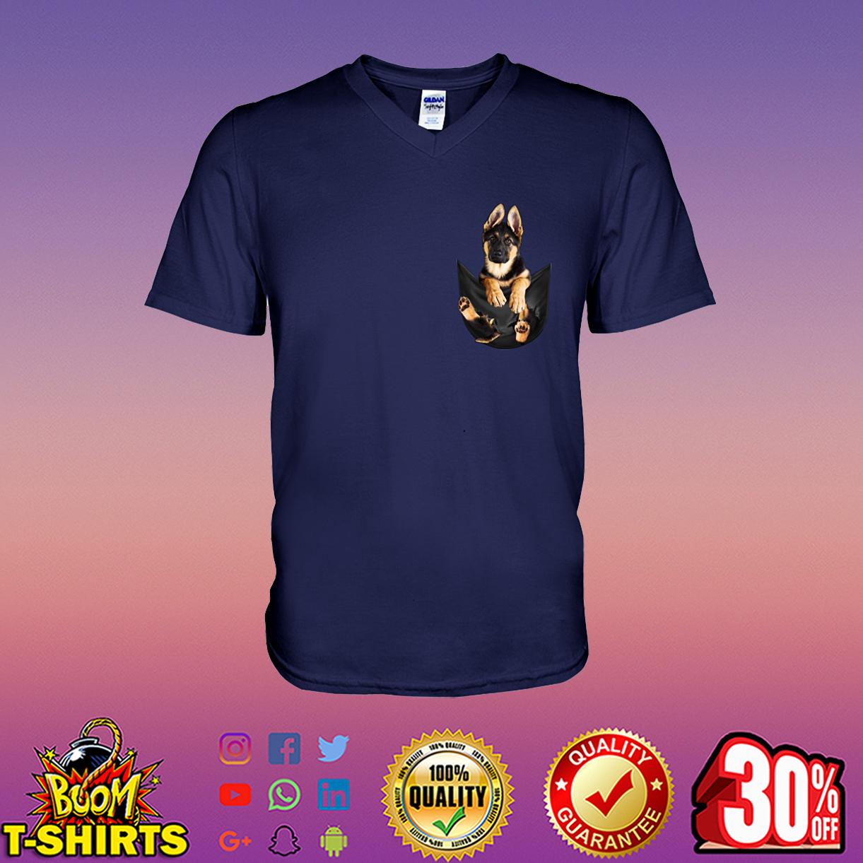German Shepherd Pocket v-neck t-shirt