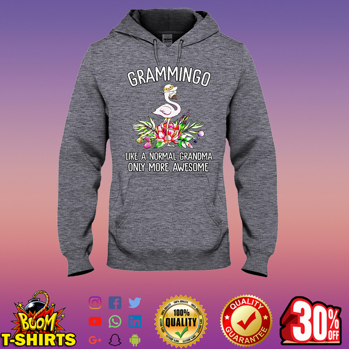 Grammingo like a normal grandma only more awesome hooded sweatshirt