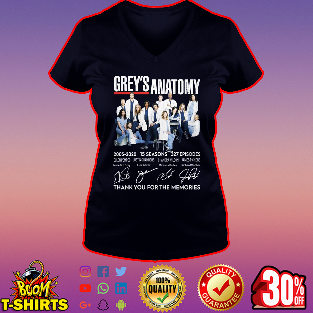 Grey's Anatomy thank you for the memories signature v-neck