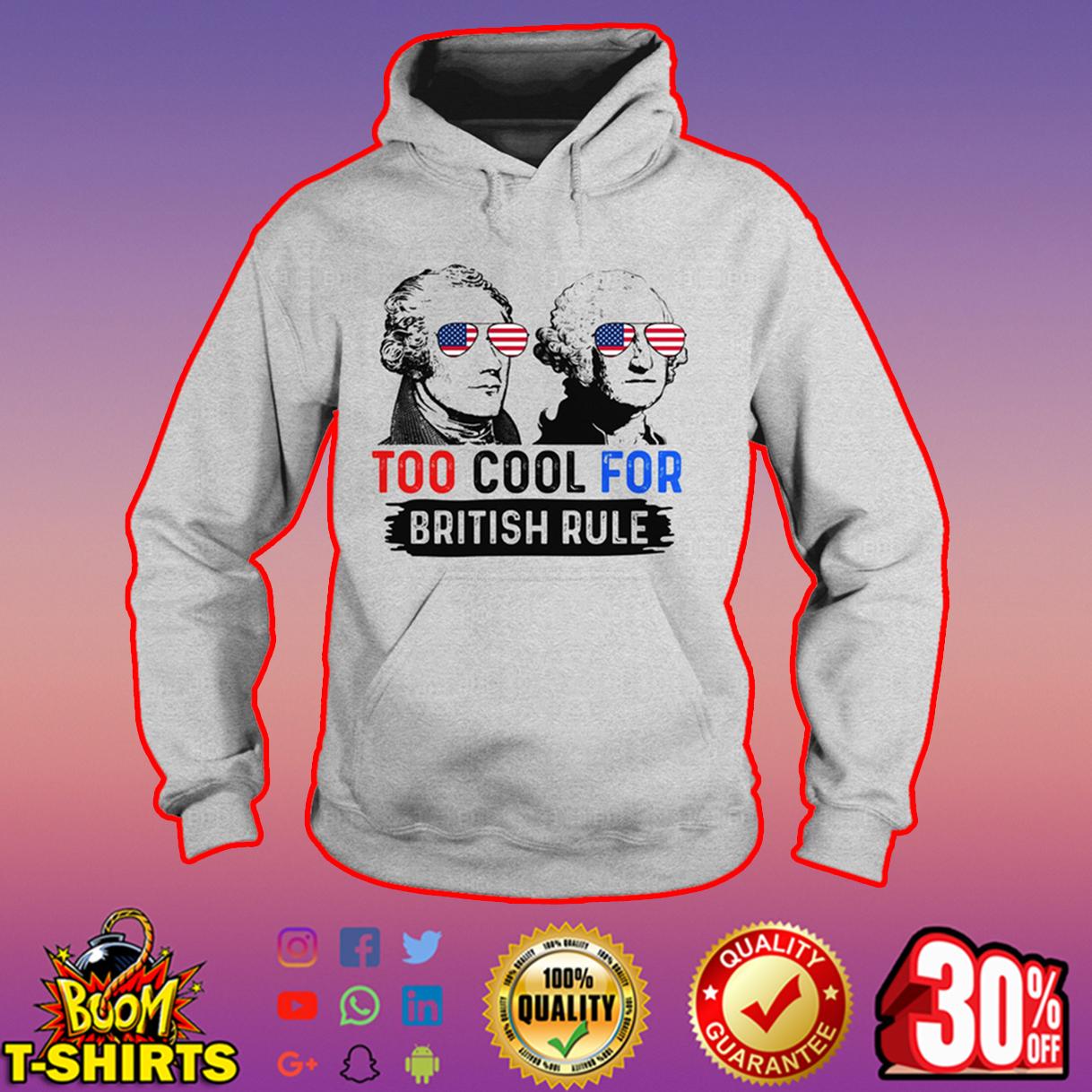 Hamilton and Washington too cool for british rule hoodie