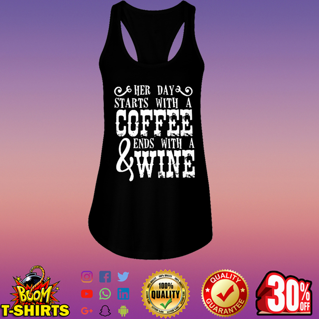 Her day starts with a coffee and ends with a wine flowy tank