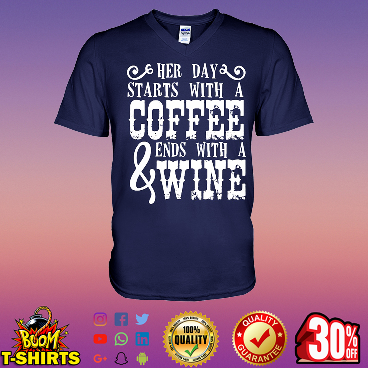 Her day starts with a coffee and ends with a wine v-neck