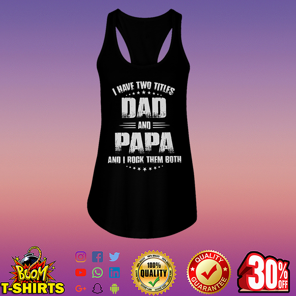 I Have Two Titles Dad And Papa And I Rock Them Both flowy tank
