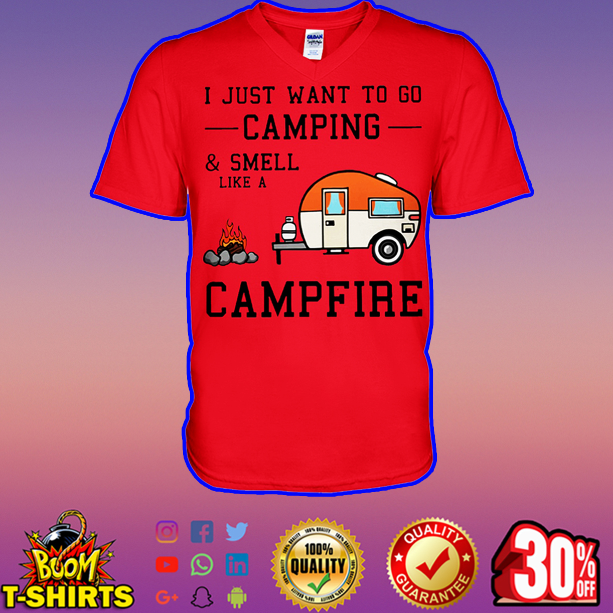 I just want to go camping and smell like a campfire v-neck