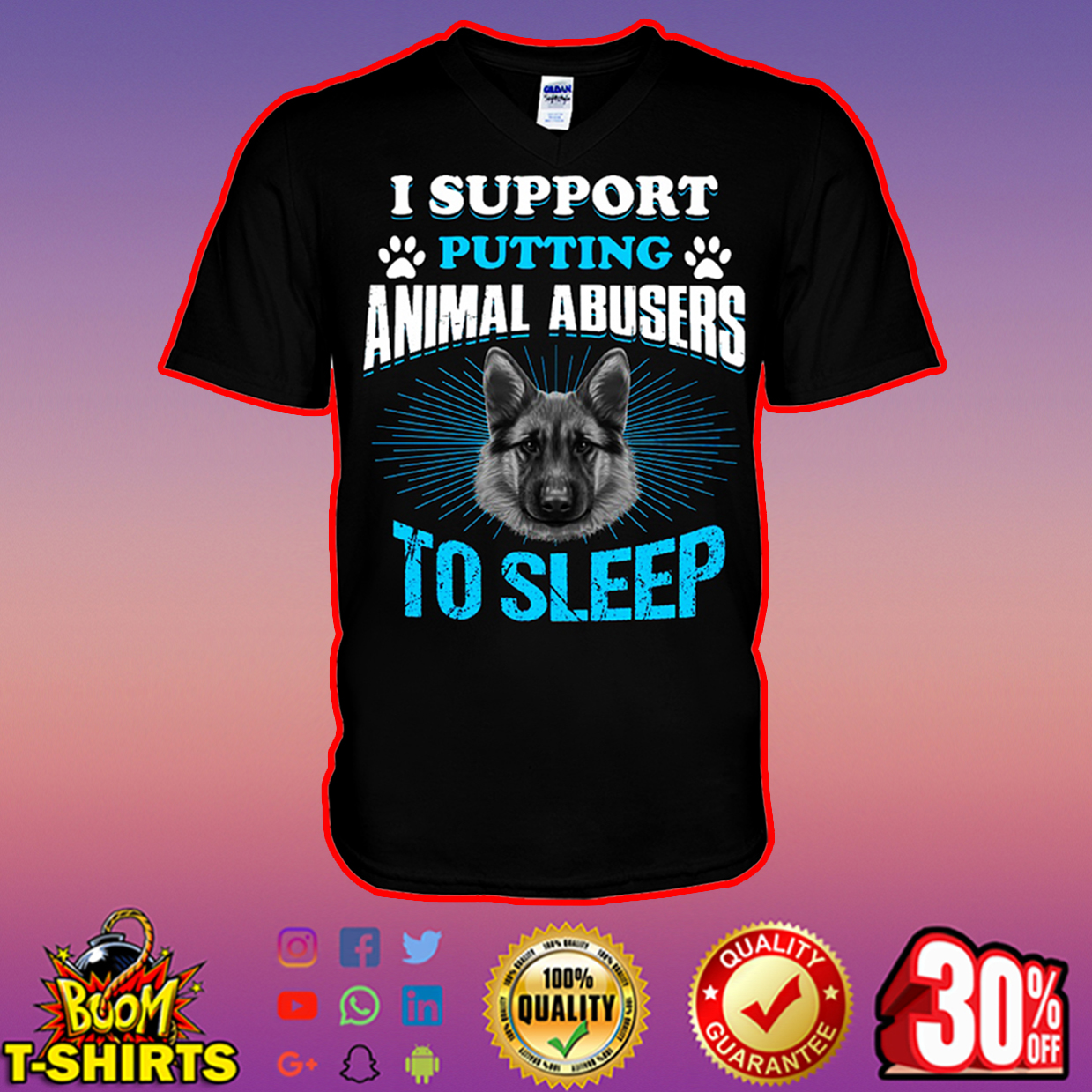 I support putting animal abusers to sleep v-neck