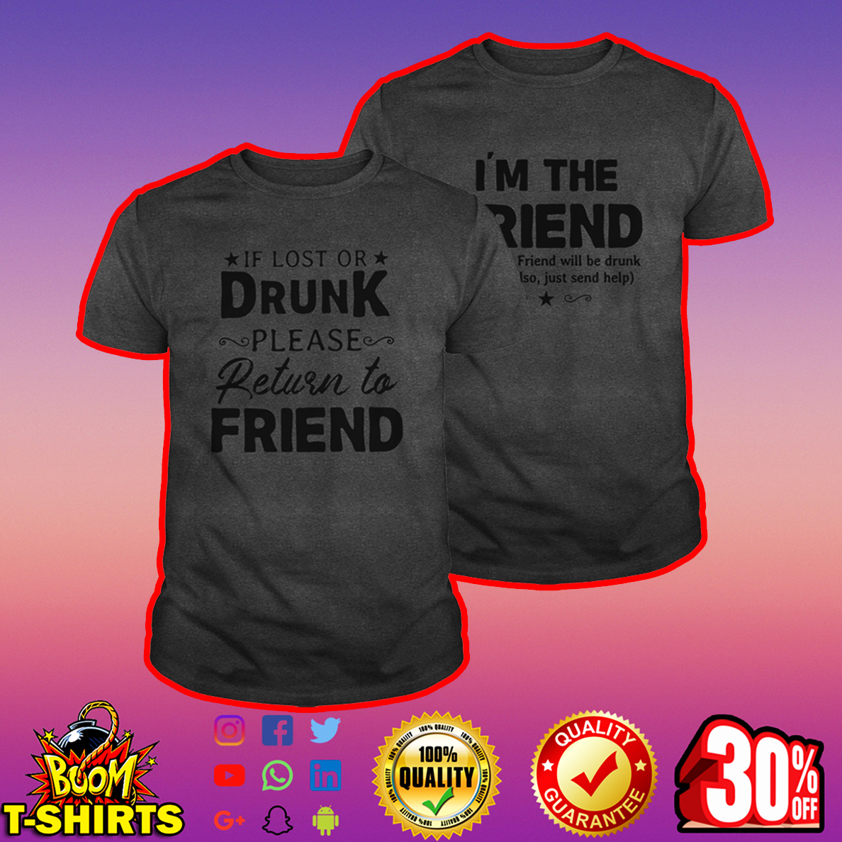 If lost or drunk please return to friend shirt - darkgrey