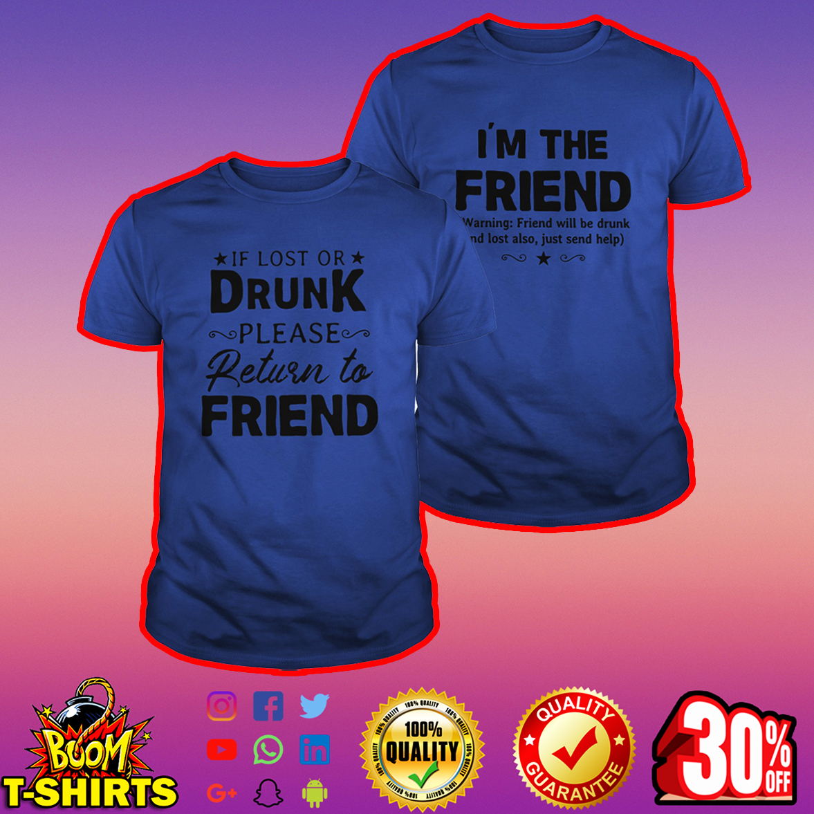 If lost or drunk please return to friend shirt - royal blue