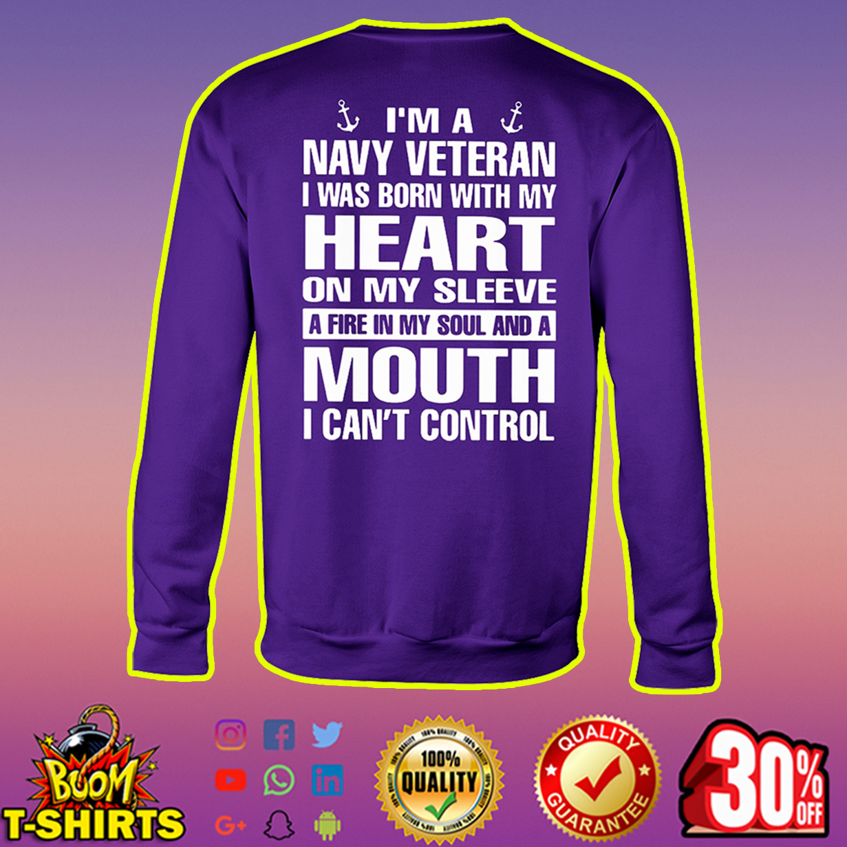 I'm a navy veteran I was born with my heart sweatshirt
