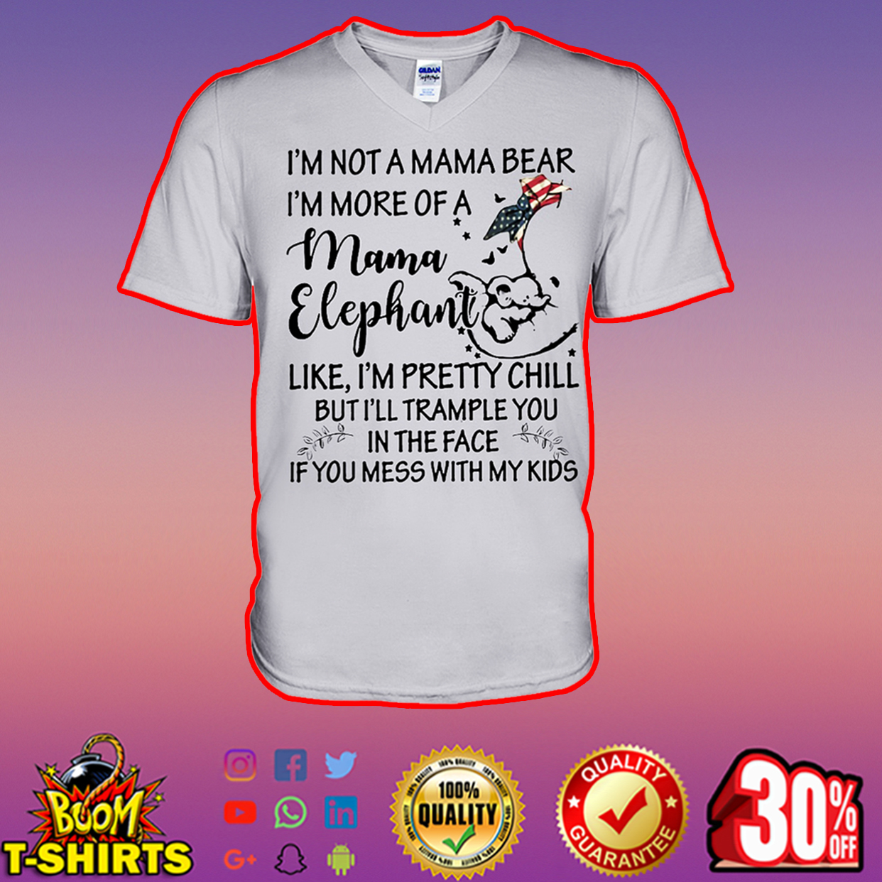 I'm not a mama bear I'm more of a mama elephant v-neck