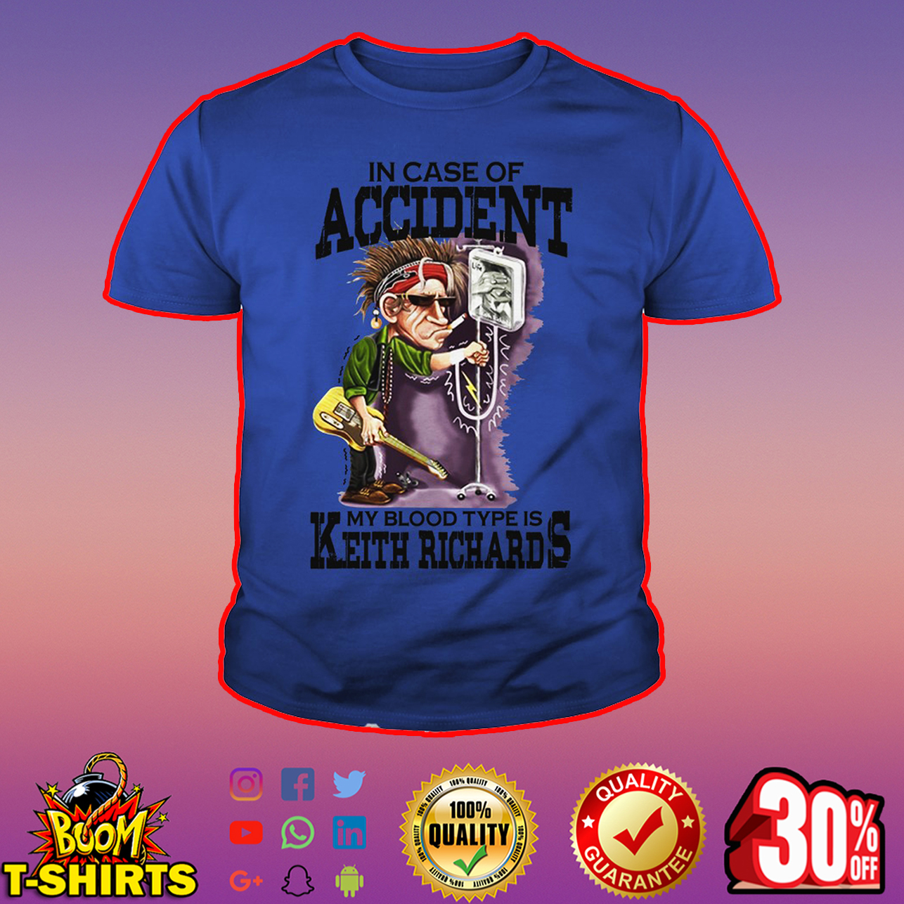 In case of accident my blood type is Keith Richards youth tee