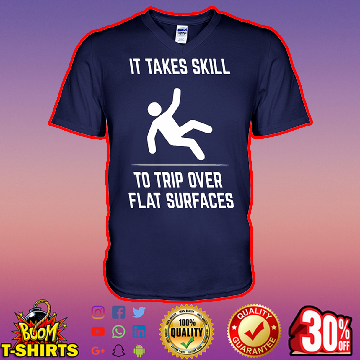 It takes skill to trip over flat surfaces v-neck