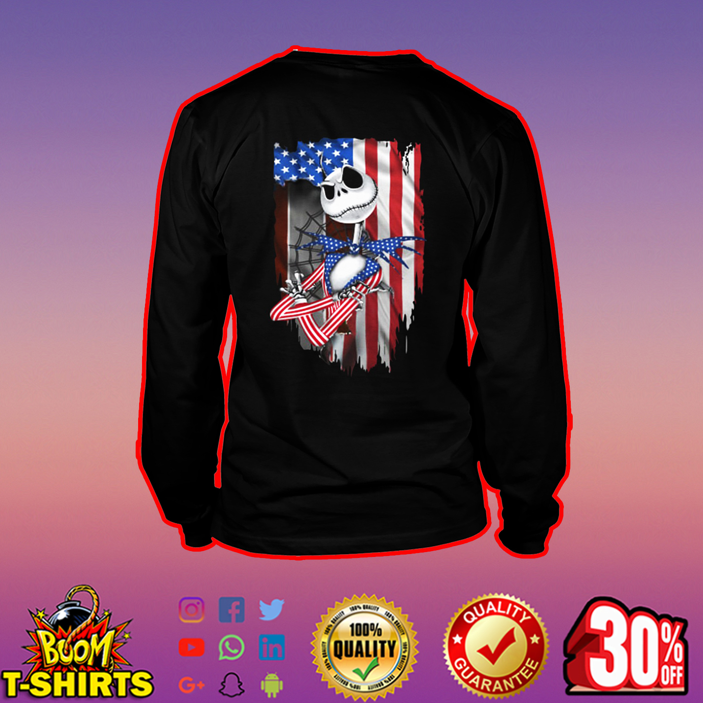Jack Skellington American Flag long sleeve tee
