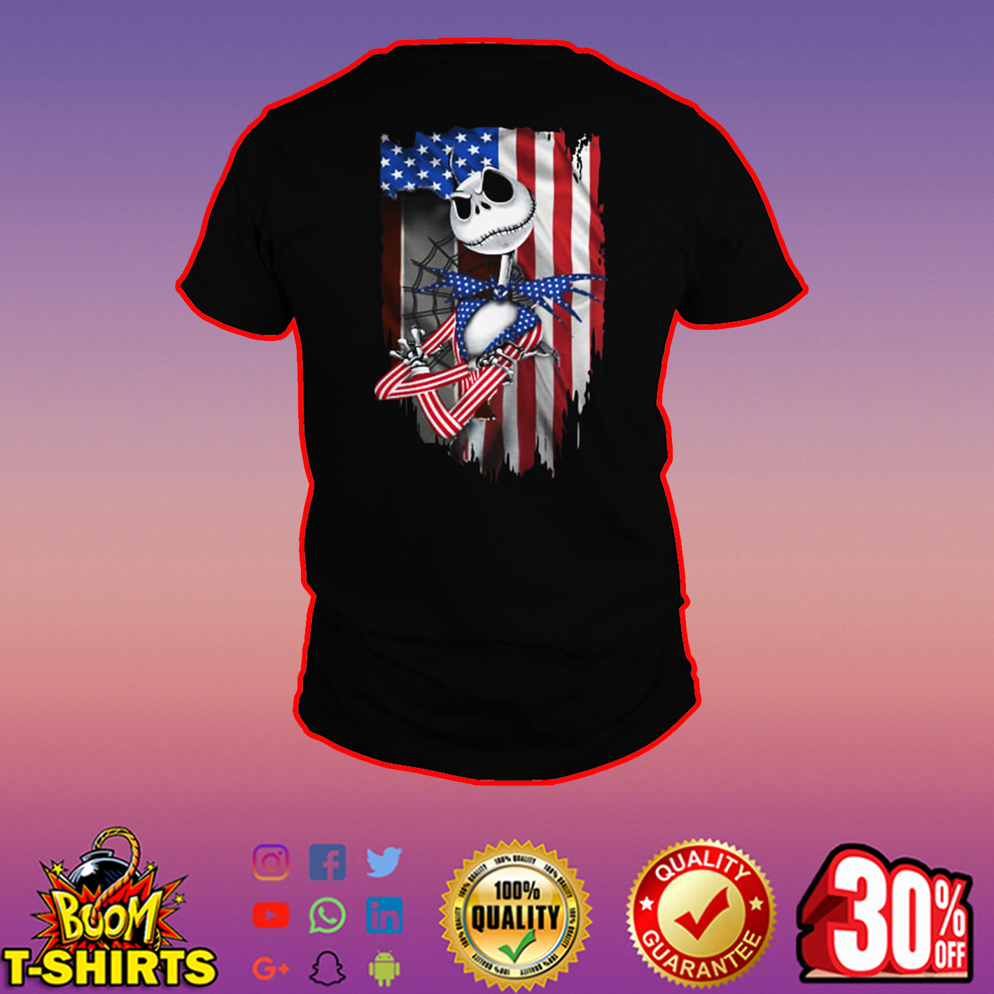 Jack Skellington American Flag shirt
