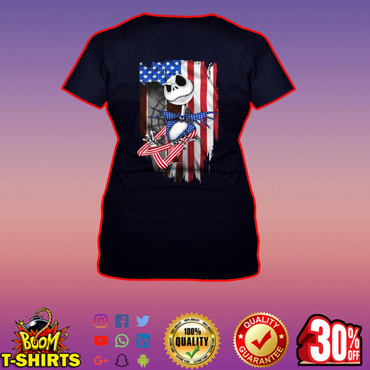 Jack Skellington American Flag v-neck
