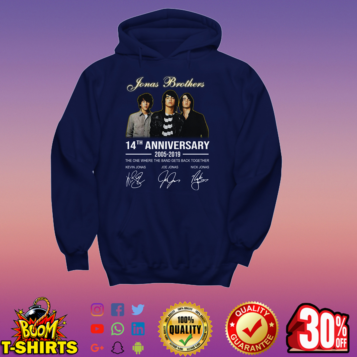 Jonas Brothers 14th anniversary 2005-2019 signature hoodie