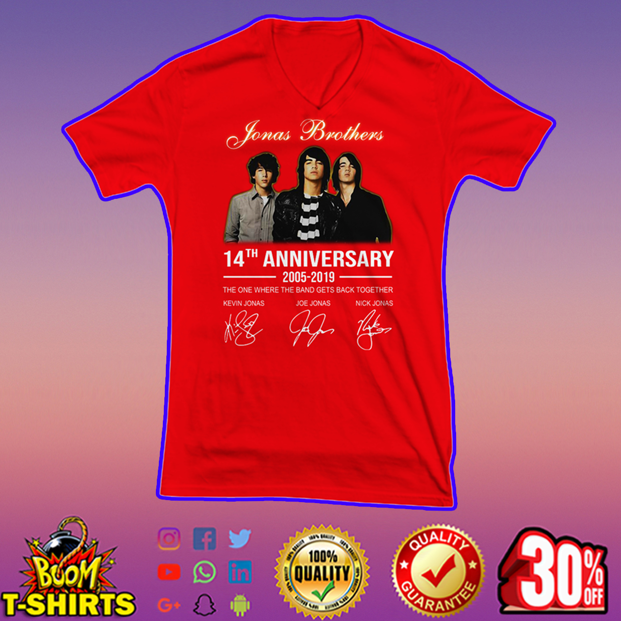 Jonas Brothers 14th anniversary 2005-2019 signature v-neck