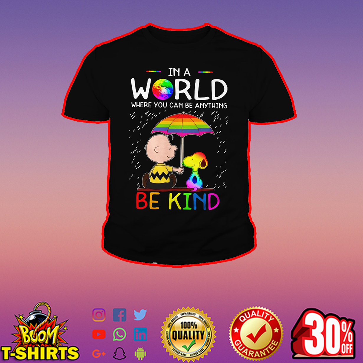 LGBT Peanuts In a world where you can be anything be kind youth tee