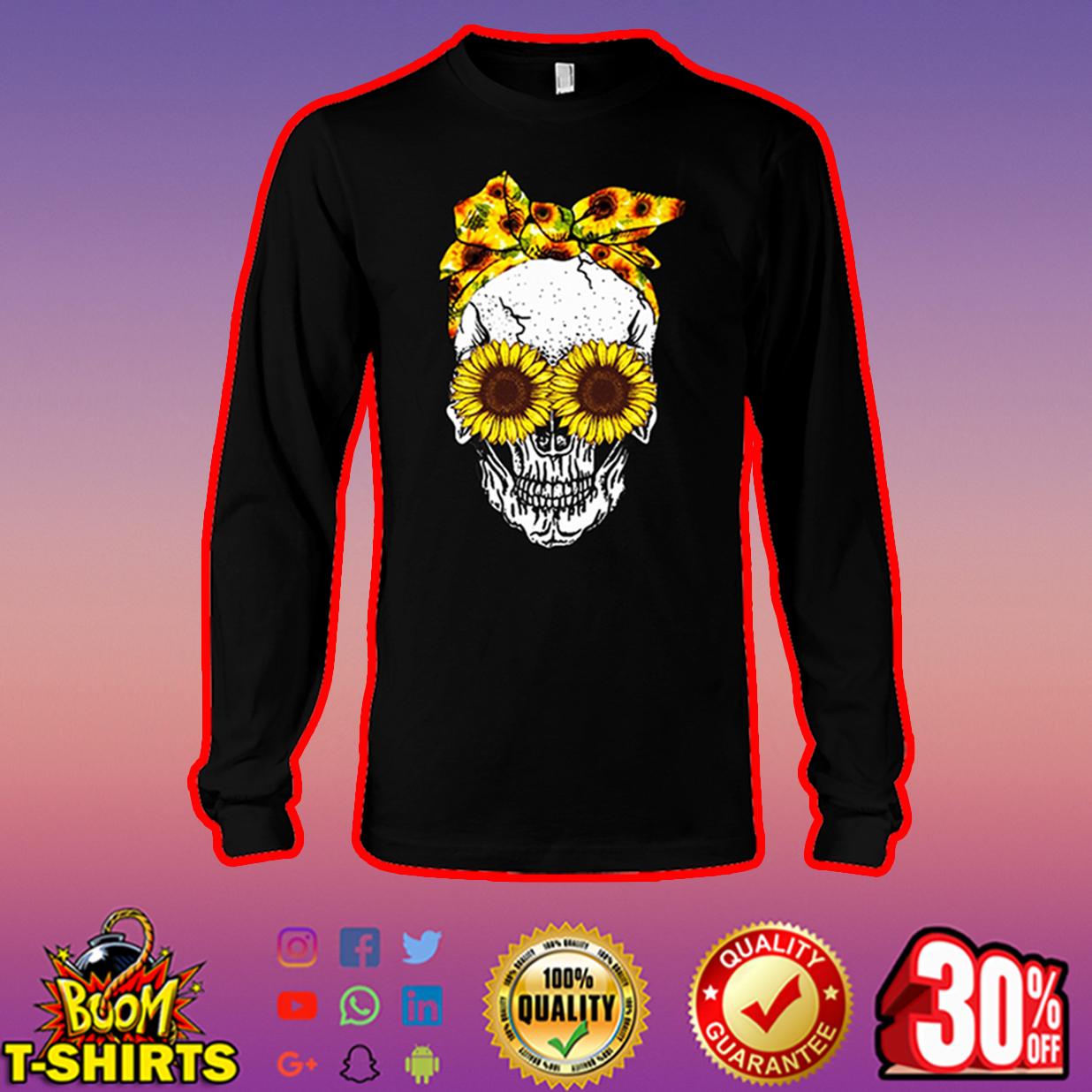 Lady Skull Sunflower long sleeve tee