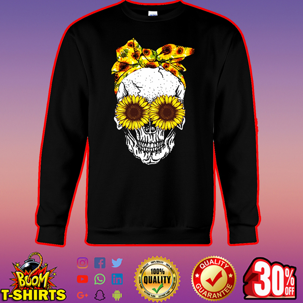 Lady Skull Sunflower sweatshirt