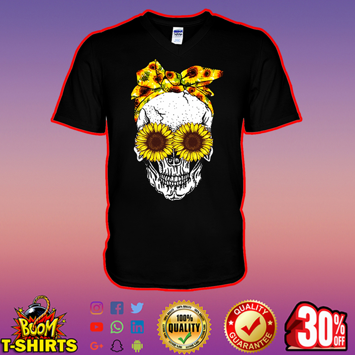 Lady Skull Sunflower v-neck