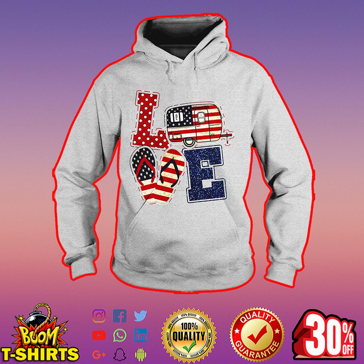 Love camping American flag hoodie