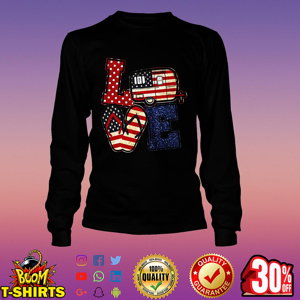 Love camping American flag long sleeve tee