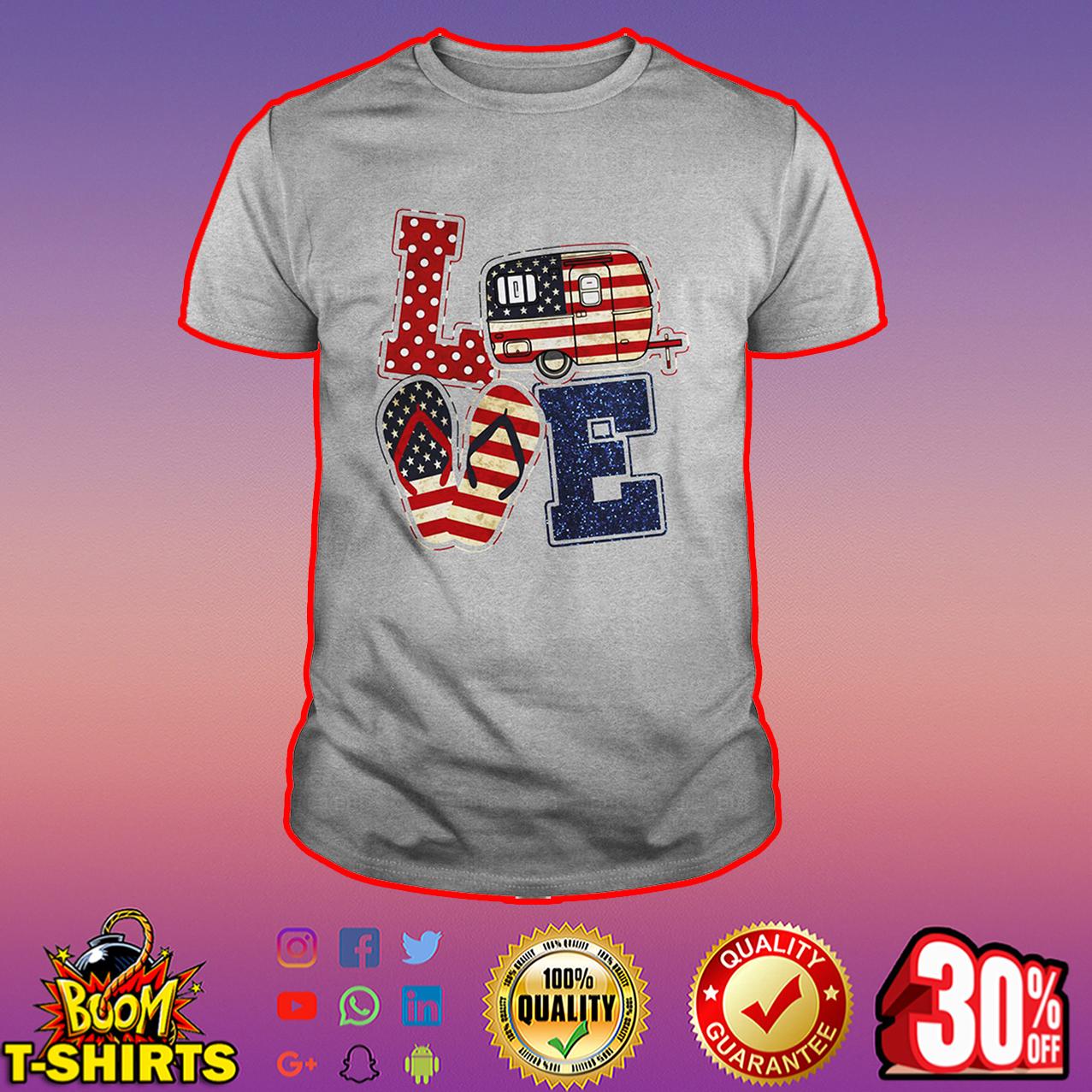 Love camping American flag shirt