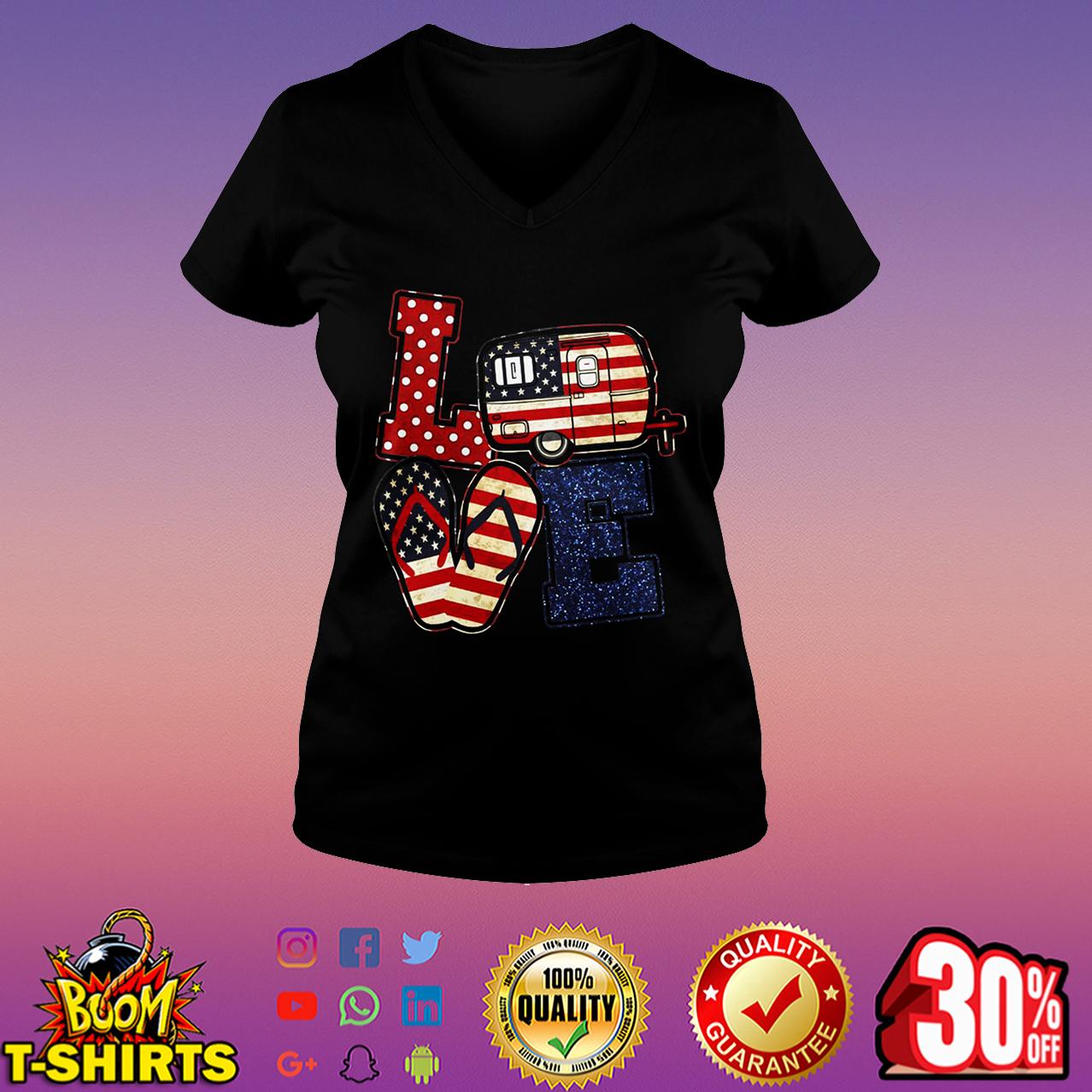 Love camping American flag v-neck