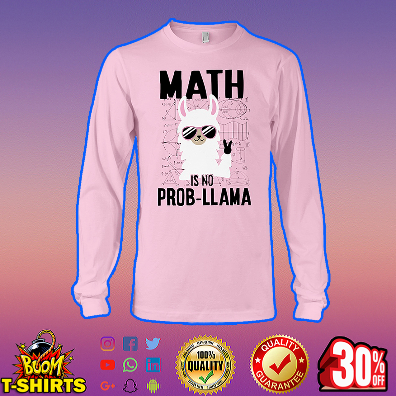 Math is no Prob Llama long sleeve tee
