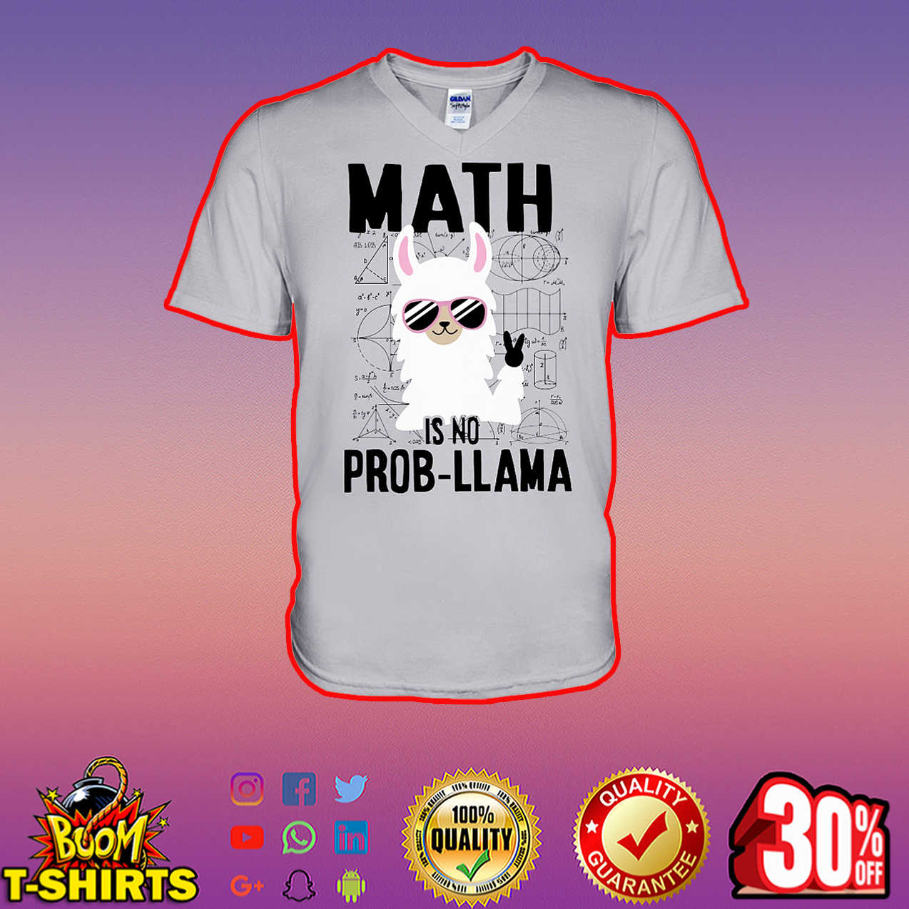 Math is no Prob Llama v-neck