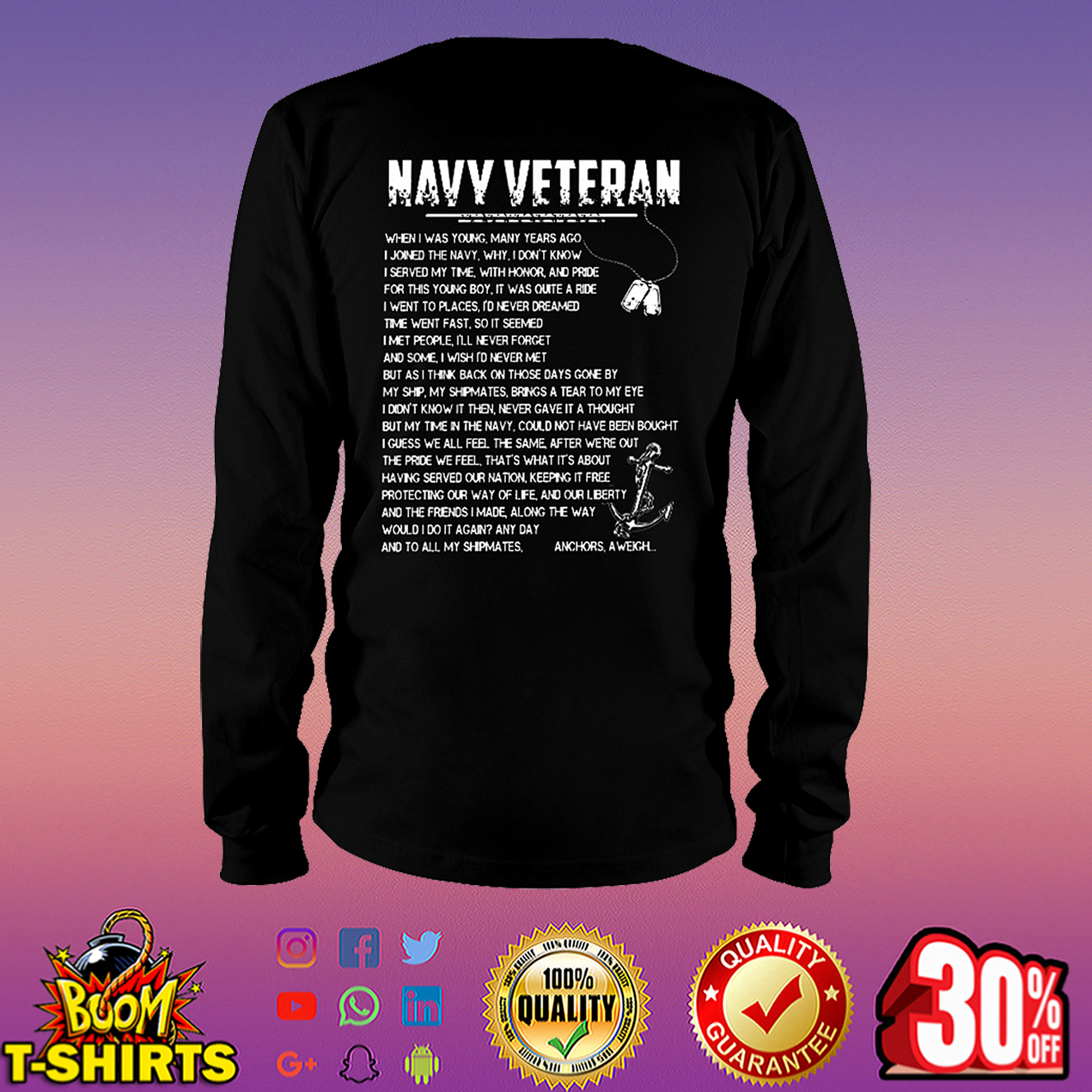 Navy veteran when I was young many years ago I joined the navy long sleeve tee